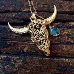 Heather Benjamin Bull Skull Necklace