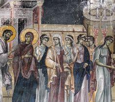 Presentazione della Vergine al tempio. Chiesa del Re. 1315. Dettaglio Orthodox Icons, Byzantine, Fresco, Painting, Art, Western World, Art Background, Fresh, Painting Art