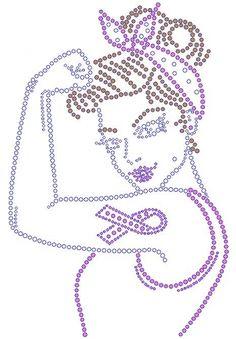 Rosie Cancer Ribbon Rhinestone Transfer