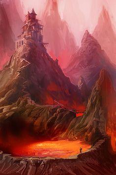 ArtStation - Trough The Fire, Daniele Montella #concept #art #volcano