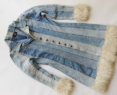 Women's clothing – Page 62 – Allegro. The best … - Upcycled Clothes Refashioning Diy Jeans, Jeans Refashion, Denim Jacket Fashion, Denim Outfit, Diy Kleidung Upcycling, Pullover Upcycling, Sewing Coat, Clothing Patterns, Women's Clothing