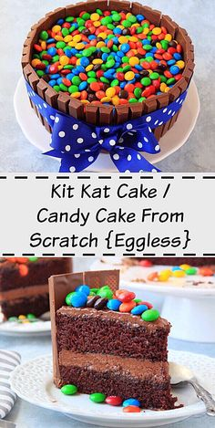 Kit Kat cake recipe from scratch. How to make kit kat cake with m&m's. M&M's chocolate cake. How to make a kitkat and m&m cake. Eggless Chocolate Cake, Chocolate Frosting, Cake Candy, Delicious Desserts, Dessert Recipes, Blackberry Cake, Diy Birthday Cake, Cake Recipes From Scratch, Round Cake Pans