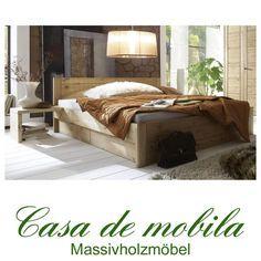 Massivholz Bett Mit Schubladen Kiefer massiv gelaugt geölt Funktionsbett Holzbett naturholz RAUNA 180x200,Schubladenbett
