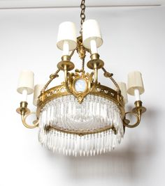 Brass and crystals Chandelier, Brass, Ceiling Lights, French, Crystals, Lighting, Furniture, Home Decor, Candelabra