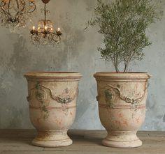 Large French Unglazed Anduze Garden Urn Pots Vielle Antique Finish Pair-antique,patina, planter, plants, design, provence