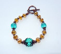 Antique Copper and Turquoise Bracelet by CloudNineDesignz on Etsy, $20.00