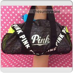 NEW Victoria's Secret PINK Duffel Bag Travel Tote Neon Gray Logo Gym Campus NWT #VictoriasSecretPINK