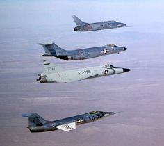 The USAF's century series aircraft. From top to bottom; F-100, F-101, F-102, F-104