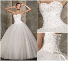 Prix bon marché! 2014 nouvelle livraison gratuite une ligne sweetheart perles blanc,/robes de mariée ivoire