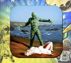 Monster of Piedras Blancas Coaster Set by ClassicSciFi on Etsy