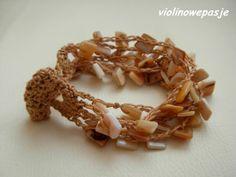 bransoletka szydełkowa z masą perłową