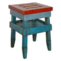 Antique French Folk Art End Table in Painted Pine
