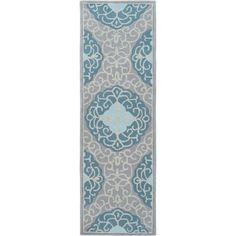 Surya COS9289-268 Cosmopolitan 3' x 8' Runner Synthetic Hand Tufted Damask Area - Blue