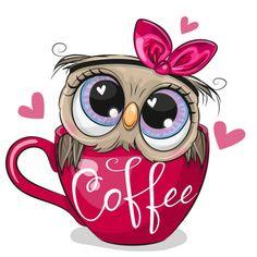 Animal Drawings, Cute Drawings, Cute Owl Drawing, Cartoon Owl Drawing, Cute Owl Cartoon, Owl Png, Coffee Vector, Dibujos Cute, Typography Prints