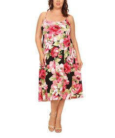 Another great find on #zulily! Black & Pink Floral Criss-Cross Spaghetti-Strap Dress - Plus #zulilyfinds