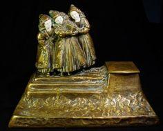 Fine-Figural-Inkwell-Letter-Opener-Paul-Tereszczuk-Austrian-Bronze-1895-1925
