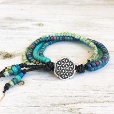 Beach boho style bracelet beaded bracelet turquoise coloured