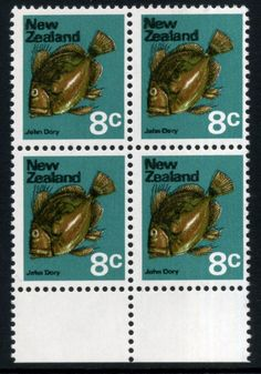 Stamps - Errors #315896 NZ Error 1970 Pict 8c John Dory Fish, lower selv blk 4 with rare double print of black, caused by Wet Print of black, clearly doubled under magnification, blurry to eye, Rare blk ...