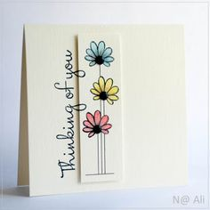 Use this same flower 3 times, 3 different colors - adding 3 different length 'stems' and the words vertical