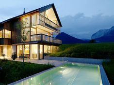Wood and Glass Mountain #House with Trio of Terraces