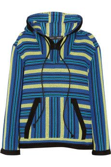 Proenza Schouler Baja suede-trimmed striped tweed sweater | THE OUTNET