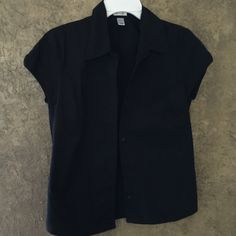 Old Navy M stretch black button up blouse Excellent condition. Size medium. No rips holes tears or loose buttons. Collar and button down the front. Short sleeves. Tight fitting. Great for work Old Navy Tops Button Down Shirts