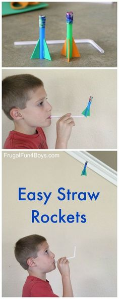 Make straw rockets! This simple rocket activity kept my crew busy for a long time, and it's so simple to do! Blow into the straw and launch your rocket. Then do it again and again! We put these rockets together in about 10 min.