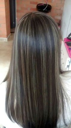 100 dark hair with heavy platinum highlights perfect when you're going grey pa. 100 dark hair with Brown Hair With Silver Highlights, Brown Ombre Hair, Brown Blonde Hair, Light Brown Hair, Brunette Hair, Blonde Ombre, Dark Brown Hair With Blonde Highlights, Baby Highlights, Long Brunette
