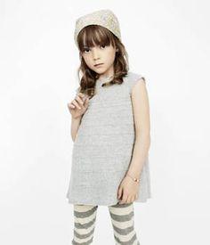 plain linen tunic with grey-white striped leggings