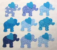 Set of 9 Blue Elephant Iron-on Cotton Fabric Appliques for Quilts Apparel Etc #Unbranded