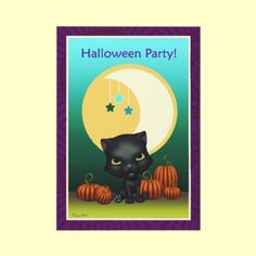 Black Cat Moon & Stars Halloween Party Invitation $1.95 per invite, pay less if order more than 10! By XG Designs NYC. #blackcat #halloweenparty #invitation