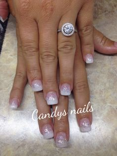 Pink and white glitter fade nails
