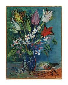 Jean Dufy - Les Fleurs I, oil on canvas