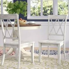 Three Posts Stockton Solid Wood Cross Back Side Chair Color: Antique White Farmhouse Dining Chairs, Solid Wood Dining Chairs, Dining Chair Set, Dining Room, Kitchen Dining, Dining Tables, Dinning Chairs, Outdoor Dining, Room Chairs