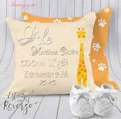 Cojín personalizado nacimiento bebé jirafa 19 x 19 cm – dreamy pig