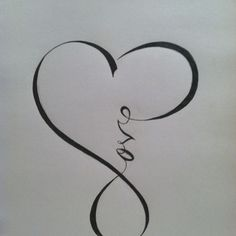 """Love"" calligraphy that resembles the ""infinity"" sign . . . would be beautiful to use in a scrapbooking layout."