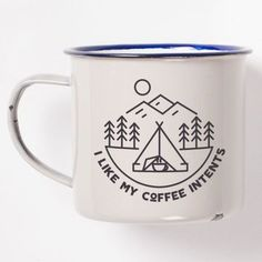 "I Like My Coffee ""Intents"" Enamel Camping Mug Featuring Awesome Pun"