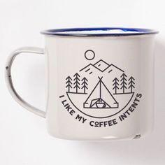 "I Like My Coffee ""Intents"" Enamel Camping Mug Featuring Awesome Pun"