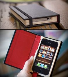 Designed as a slim journal, this Little Black Book cradles your iPhone in a protective wooden frame.