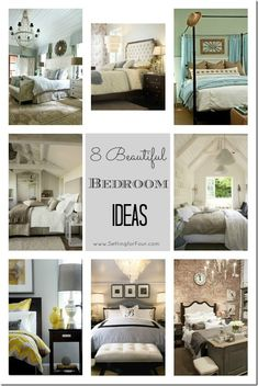 8 beautiful bedroom ideas to inspire us to create our own bedroom retreats! Decor and Design Ideas to create a master bedroom or guest bedroom sanctuary.