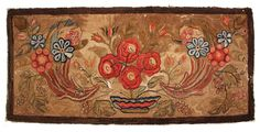"""HOOKED RUG - 34 1/2"""" X 78"""" - Waldoboro Hearth Rug, floral design in wool on linen, late 1800s, early 1900s. Purchased in Maine. Exhibited in show at American Textile History Museum, 1999. The Barrie & Michael Pribyl Collection"""