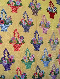 flower basket quilt ~ c.1930-1940's