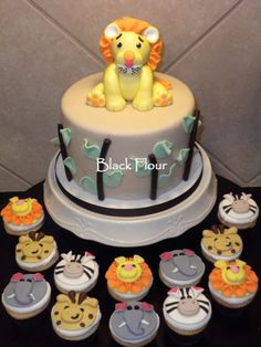 Safari Theme Baby Shower cake and cupcakes -- Black Flour