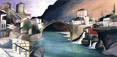 by Tivadar Kosztka Csontváry, absolutely amazing painting.  Roman Bridge at Mostar, 1903, Oil on canvas, 92 x 185 cm, Janus Pannonius Museum, Pécs (loan)