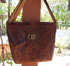 Vintage Mexican Hand tooled Leather Purse Handbag and Shoulderbag Hand stitched Handmade Shabby Chic Cowgirl w detail