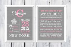 Birth Stats - Crown Birth Announcement Wall Art Set  8x10 or 11 x14 by TheEducatedOwl on Etsy https://www.etsy.com/listing/105039944/birth-stats-crown-birth-announcement