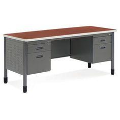 OFM Model 66266 Double Pedestal Credenza Computer Desk   66266 CHY