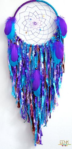 Dream Catcher- Cosmic Galaxy Native Style Handwoven Dream Catcher by eenk on Etsy look at this with mommy Dreams Catcher, Beautiful Dream Catchers, Diy And Crafts, Arts And Crafts, Native Style, Suncatchers, Bunt, Wind Chimes, Nativity