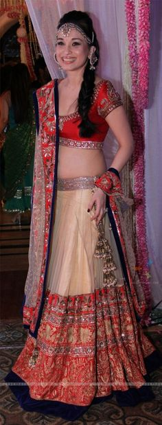 Gold and red wedding lehenga