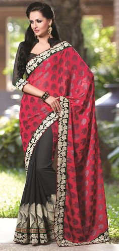USD 65.17 Red Georgette Party Wear Saree 42688